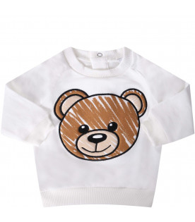MOSCHINO KIDS White babykids sweatshirt with colorful teddy Bear