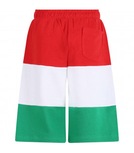 MOSCHINO KIDS Red, white and green boy short with black logo