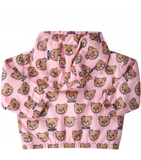 MOSCHINO KIDS Pink babyboy windbreaker jackest with iconic Teddy Bear