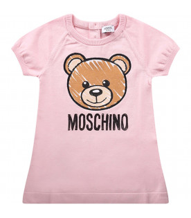 MOSCHINO KIDS Pink babygirl dress with colorful teddy Bear