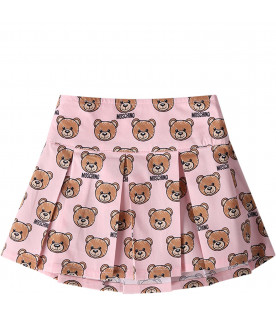 MOSCHINO KIDS Pink babygirl skirt with all-over Teddy Bear