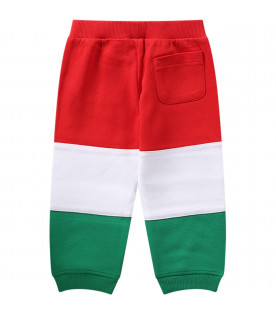 MOSCHINO KIDS Red, white and green babyboy sweatpants with black logo