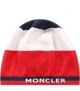 MONCLER KIDS Blue, white and red boy hat with wwhite logo