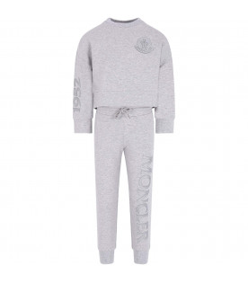 MONCLER KIDS Grey girl tracksuit with logo