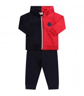 MONCLER KIDS Blue and red babyboy tracksuit with iconic patch
