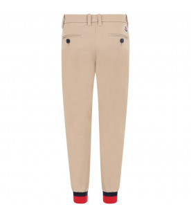 MONCLER KIDS Beige boy pants with iconic patch