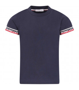 MONCLER KIDS T-shirt blu per bambino con bande colorate