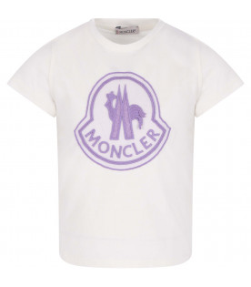 MONCLER KIDS White girl T-shirt with lilac logo