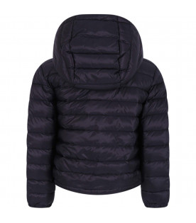 MONCLER KIDS Blue boy jacket with red and blue stripes
