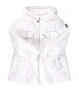 MONCLER KIDS White babygirl jacket with iconic patch