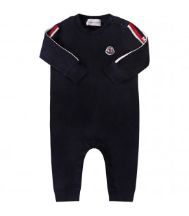 MONCLER KIDS Blue babyboy babygrow with iconic patch
