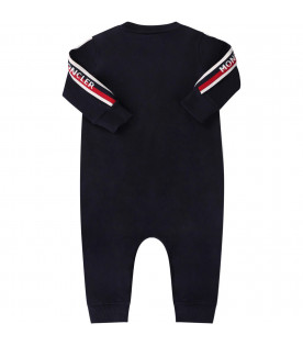 c8902c73439d9 ... MONCLER KIDS Blue babyboy babygrow with iconic patch