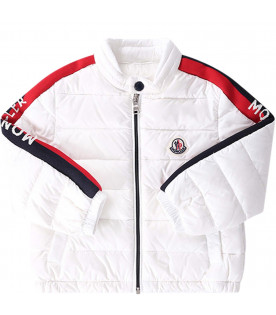 MONCLER KIDS White babyboy jacket with red and blue stripes