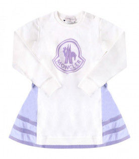 MONCLER KIDS White girl dress with lilac logo
