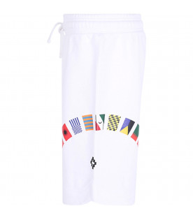MARCELO BURLON KIDS White boy short with colorful flags