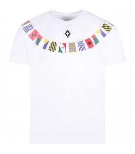 MARCELO BURLON KIDS T-shirt bianca per bambino con bandiere colorate
