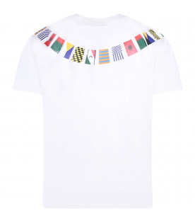 MARCELO BURLON KIDS White boy T-shirt with colorful flags