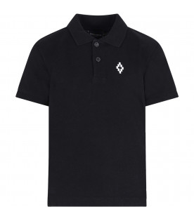 MARCELO BURLON KIDS Black boy polo shirt with colorful flags