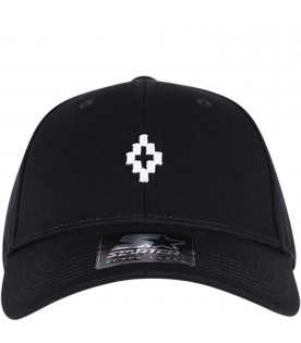 MARCELO BURLON KIDS Black boy hat with white iconic logo