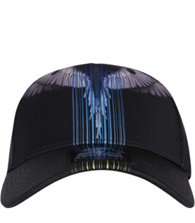 MARCELO BURLON KIDS Black boy hat with colorful barcode