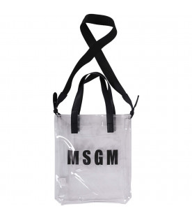 MSGM KIDS Transparent girl bag with black logo