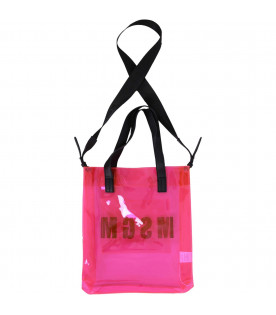 MSGM KIDS Neon fuchsia girl bag with black logo