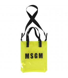 MSGM KIDS Neon yellow girl bag with black logo