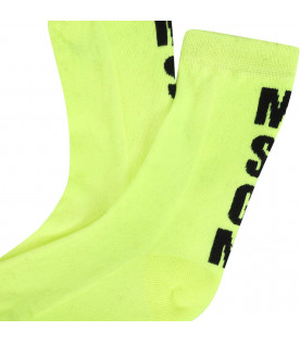 MSGM KIDS Neon yellow boy socks