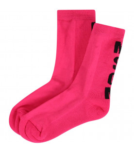 MSGM KIDS Neon fuchsia girl socks