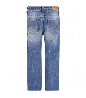 MSGM KIDS Denim light blue girl jeans with colorful spots