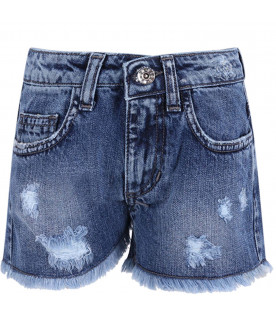 Short celeste denim per bambina con loghi colorati