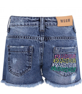 MSGM KIDS Denim light blue girl short with colorful logos