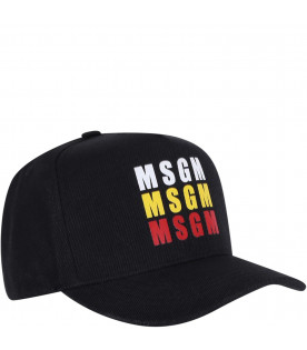 MSGM KIDS Black boy hat with colorful logos