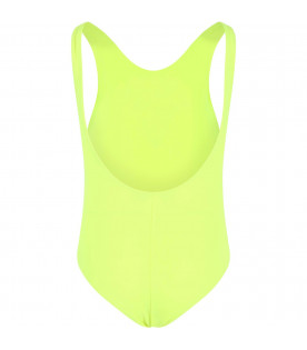 MSGM KIDS Neon yellow girl swimsuit