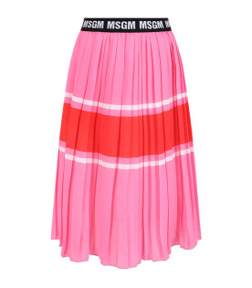 MSGM KIDS Pink girl skirt with whte logo