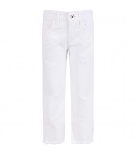MSGM KIDS White girl pants with light blue logo