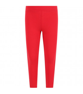 GCDS KIDS Red girl leggings with white logo