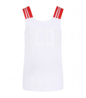 GCDS KIDS White girl top with logo
