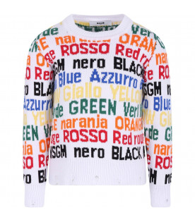 MSGM KIDS White boy sweater with colorful writing