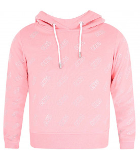Pink sweatshirt for girl with all-over logo