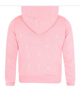 Felpa rosa per bambina con logo all-over