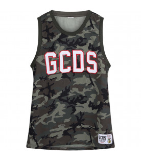 GCDS KIDS Camouflage boy tank top with white and red logo