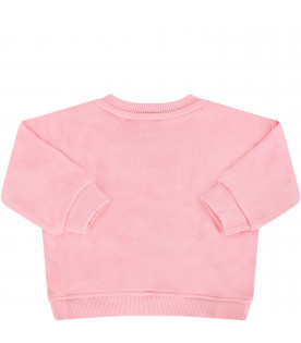 KENZO KIDS Pink babygirl sweatshirt with colorful tiger