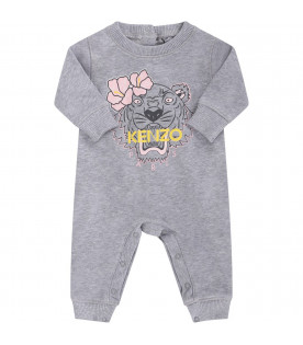 KENZO KIDS Grey babygirl babygrow with colorful tiger