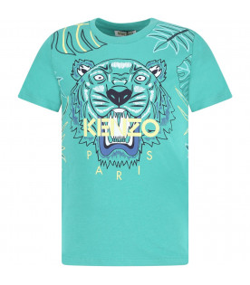 KENZO KIDS Green boy T-shirt with colorful tiger