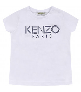 KENZO KIDS White babygirl T-shirt with blue logo