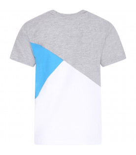 KENZO KIDS Color block boy T-shirt with white logo