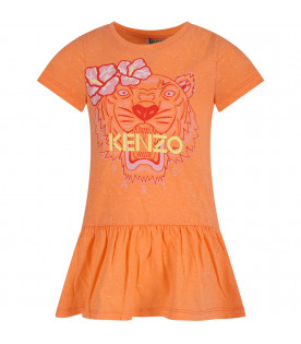 KENZO KIDS Abricot girl T-shirt with colorful tiger