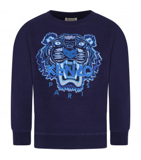 KENZO KIDS Blue boy sweatshirt with colorful tiger