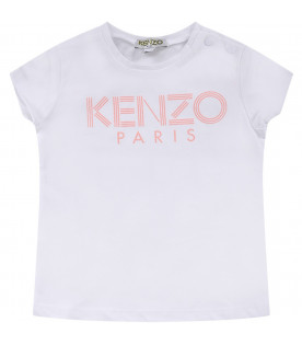 KENZO KIDS White babygirl T-shirt with pink logo